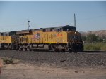 UP 7468 leads a WB doublestack at 8:41am