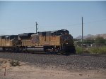 UP 8535 leads a WB doublestack at 9:28am