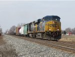 Their work at Waverly complete and recrewed, Q334-17 rolls into the siding to meet Q335