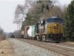 CSX 5351 leads Q334 down to the east end as the tail end of Q335 heads away