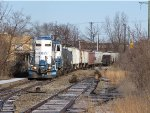 MMRR 24 leads its' train east past the remains of the old Grand Rapids GTW station area
