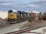 CSX 5203 leads 3 more units and 154 cars west away from Fox as Q335-24