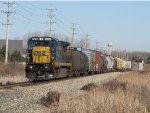 CSX 7590 tows Q334-27 east with just 23 cars