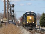 CSX 8029 leads Q334-04 at the switch to the double track