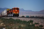 BNSF 6722 leads a Westbound Z with her  Sister C4's BNSF 6897 and BNSF 6719 behind her as they climb the grade.
