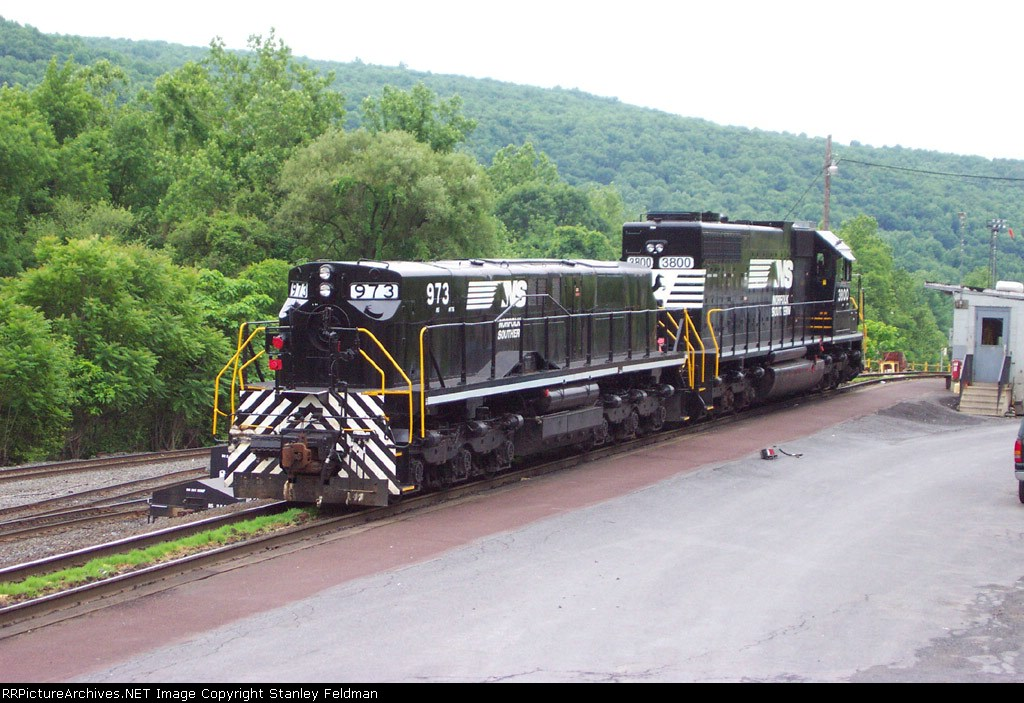 NS SLUG 973 &  NS SD 38 3800 at the Allentown Yard.  6/6/2004