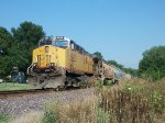 UP 6285 DPU on eastbound UP loaded grain train