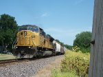 UP 8118 DPU on eastbound UP loaded grain train