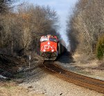 CN 2267 leads a loaded coal train up Templeton Hill