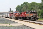An Eastbound CP Meets with the La Crosse Yard Switchers. Best Suprise was the SOO Banding