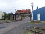 PNWR 3002 OLI Unit Departs on The Toledo Branch Over the Oregon Electric Line