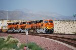BNSF 6736 on Her First Run West Leads a trio of C4's and a Lonely DC GEVO westbound out of the BNSF Barstow Yard as they continue their Journey to the Hobart Yard in Los Angeles, CA.