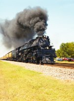 Union Pacific Challenger pulling into Gladewater Texas fall 1990