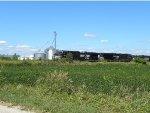 The grain train nears Helmer,IN