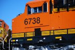 Very Up Close Shot of A Very, Very Brand New BNSF 6738 as the Arizona Sun Reflects Off Her Very Brand New BNSF Swoosh Logo Paint.
