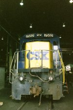 CSX 7552 inside Selkirk locomotive shop