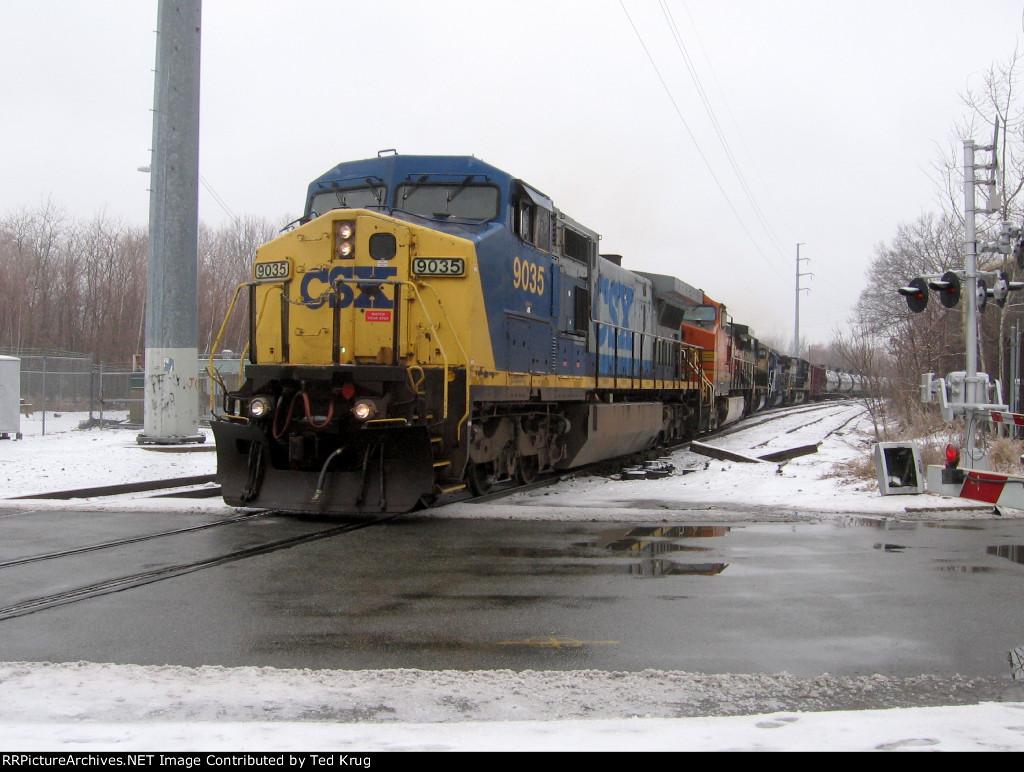 CSX 9035, BNSF 4109, BNSF 9537, MEC 616 & NS 9230