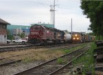 CSX 566 & 591 lead SEPO past MEC 614 & 601 on the point of EDPO