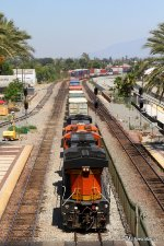 BNSF 7215 & 7524 shove an eastbound stack train for the eventual climb over Cajon Pass.