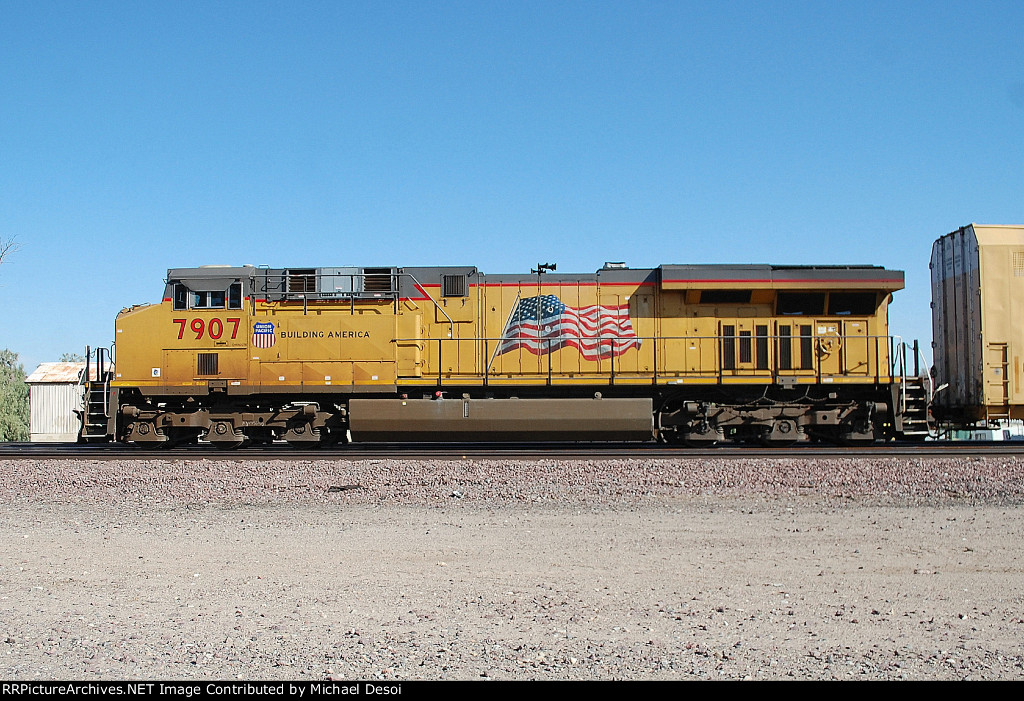 UP 7907 is the DPU on an eastbound