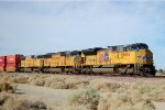 UP SD-70ACE #8656 leads an eastbound intermodal next to old Route 66