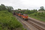 BNSF7458, BNSF7601, BNSF4604 and CSX7573