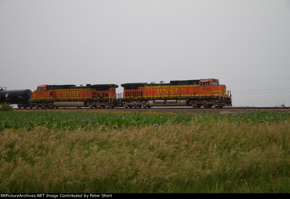 BNSF4183 and BNSF5531 again waiting for a clear signal