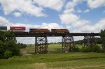BNSF7307 and BNSF5161 crossing the trestle