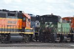 BNSF2008, BNSF3605, BNSF3644 and NS5242 in the yard
