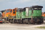 BNSF5117, BNSF1625, BNSF3454 and BNSF4411 looking sad in the yard