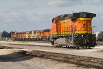 BNSF4453 and a line of stored locos in the yard