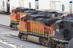 BNBSF 4078, NS9565, BNSF 4918 and BNSF 647 waiting to depart the yard