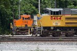 UP8464 and BNSF6299 outside the diesel shop