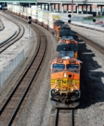A BNSF stack train thunder through downtown KC.