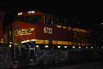 BNSF 6722 Lights Up her BNSF Reflective Swoosh Logo at 05:20 am PDT shot as she pushes the Z LAC-LPC.