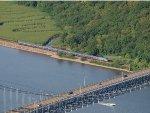 Amtrak 700 heads under the Bear mountain bridge