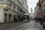 Local tram in Linz by the Hauptplatz