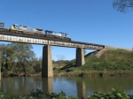 SB intermodal train Q141 crossing the Etowah River