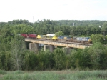 SB freight Q541 with ex Ohio Central GE's in tow crossing the Hooch near CP Gilstrap