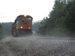 SB freight Q583 through the rain