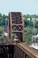 NS SD70M-2 2705 leads 21Q across the OC Bridge