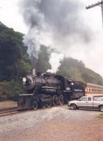 NP steamer at Osceola on the MTM back in 1999.