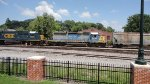 CSX 8500 and 8093 lead hopper train northbound at the Dalton Depot