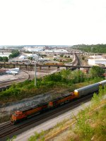 BNSF 4129 and 2 other coal trains