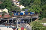 CSX rail train W056 north on the approach to the C&O (CSX) Bridge