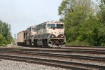 "EB BN ""executive"" scheme #s 9648, 9699 w/ unit coal train on ex-NYC 5-20-2008"