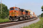Eastbound BNSF Stack with a Trio of Dash-9's