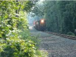 With automatic 17 in the distnace, CSX 789 runs longhood forward with a work train!