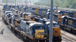 A whole gaggle of CSX power with a UP thrown in