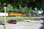 A Burlington Northern Santa Fe pulling a Road Railer